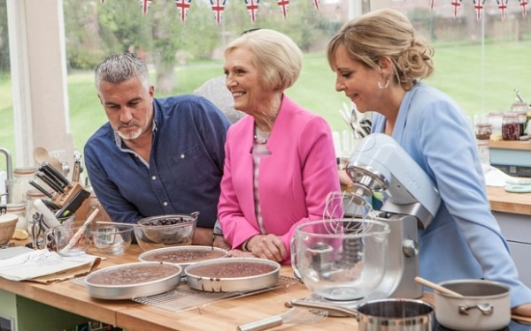WARNING: Embargoed for publication until 28/07/2015 - Programme Name: The Great British Bake Off - TX: n/a - Episode: n/a (No. 1) - Picture Shows: +++Publication of this image is strictly embargoed until 00.01 hours Tuesday July 28th 2015+++ Paul Hollywood, Mary Berry, Mel Giedroyc - (C) Love Productions - Photographer: Mark Bourdillon