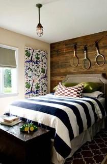 alluring-interior-interactive-image-of-boy-bedroom-decoration-using-light-brown-velvet-boy-headboard-including-tennis-racket-wall-decor-and-blue-navy