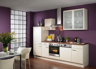 purple wall kitchen