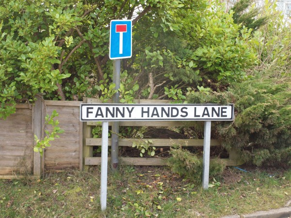 File photo of the street sign for Fanny Hands Lane in Ludford. Streets with rude-sounding names like Crotch Crescent, Turkey Cock Lane, Bell End and The Knob could turn out to be a haven for property hunters looking to snap up a bargain, research suggests. PRESS ASSOCIATION Photo. Issue date: Tuesday February 25, 2014. The study for website NeedaProperty.com looked for evidence of what impact living in a street with a suggestive name could have on the value of your home. Properties on streets with innuendo-laden names were found to be around one fifth or £84,000 cheaper on average than other homes situated nearby. See PA story MONEY Streets. Photo credit should read: Lucy Bogustawski/PA Wire