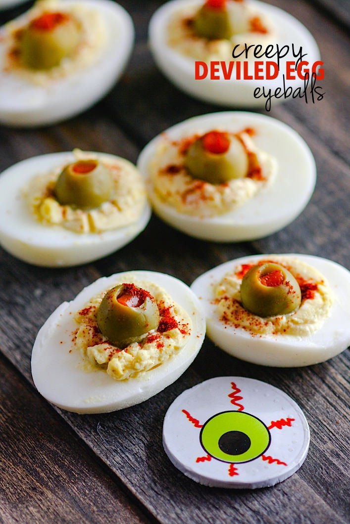 Blood-Shot-Deviled-Egg-Eyeballs Halloween recipes for Vegan, Veggie and gluten-free