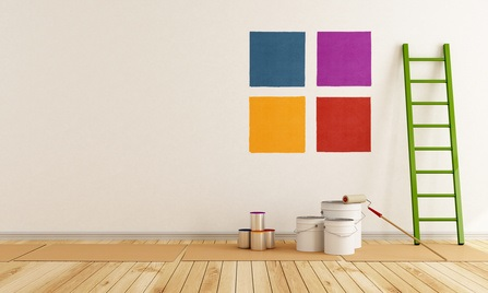 select color swatch to paint wall in a white room - rendering