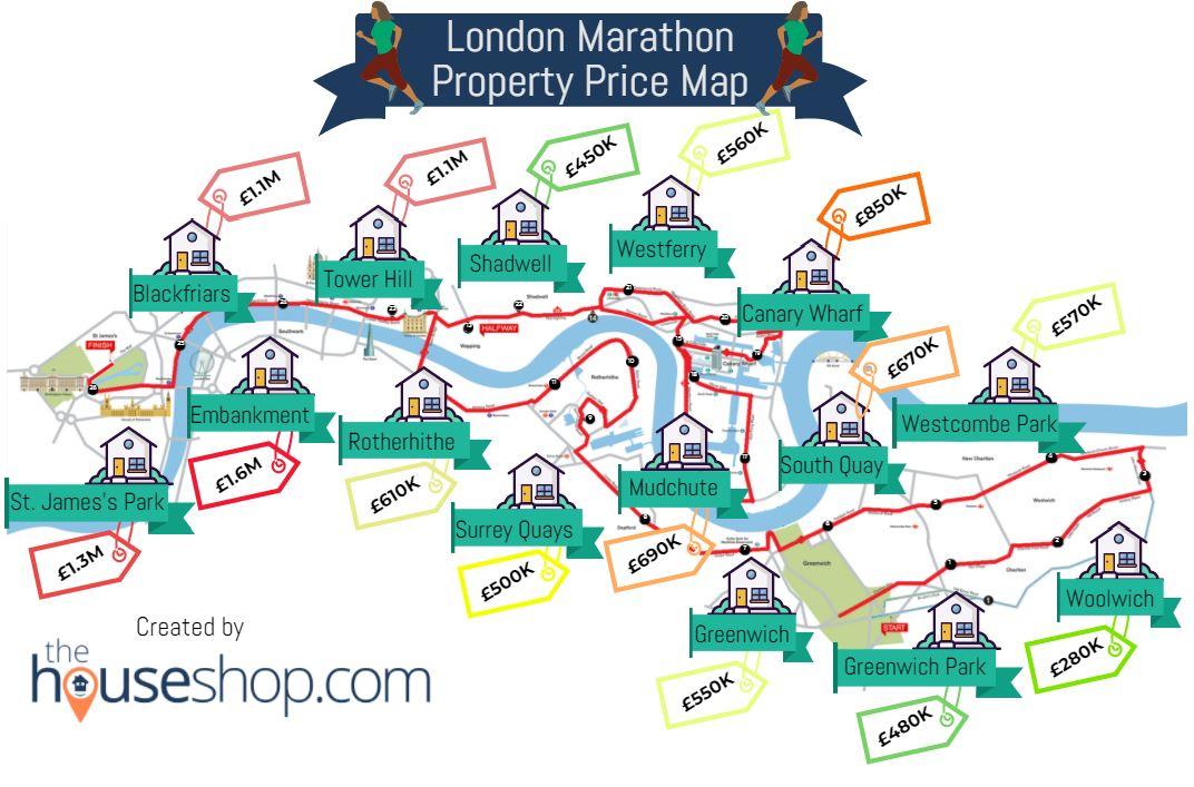 London Marathon Property Price Map Infographic